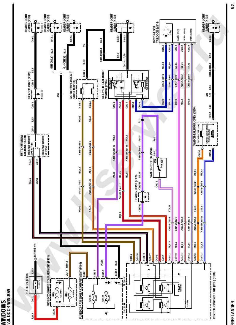 Схема подключения эл.мотора стекла 5-й двери.